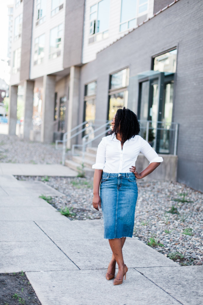 style a midi denim pencil skirt and button down for the office by popular Ohio style blogger XO Beverly