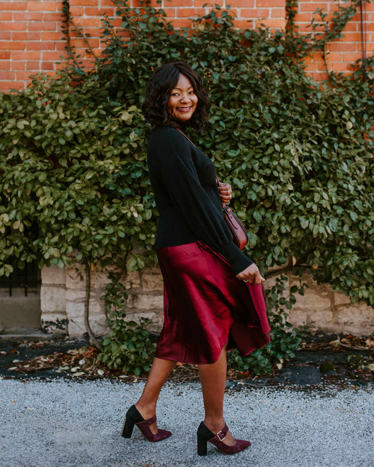 how to style a satin midi skirt