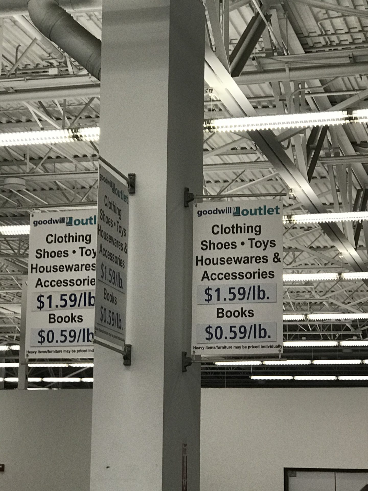The price of items at Goodwill stores